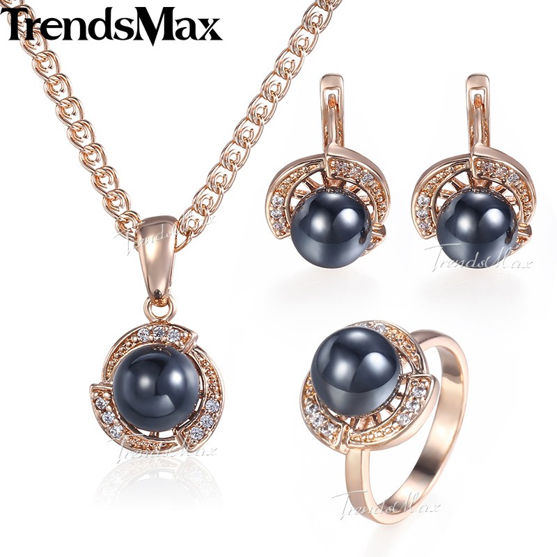 Black Pearl Jewelry Set For Women Girls Earrings Ring Pendant 585 Rose Gold Pendant Necklace Fashion Gifts Woman Jewelry KGE120 цена 2017