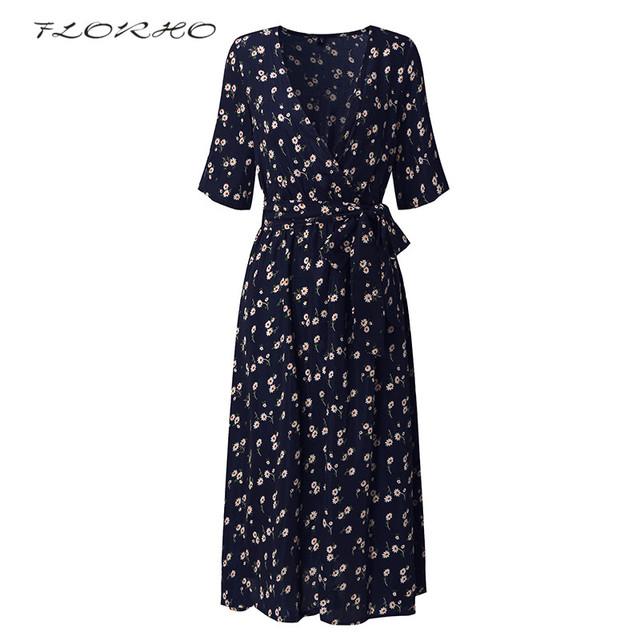 2999f3229459 Elegant Casual Party Dresses Vestidos Mujer Women Flower Print Short Sleeve  Boho Midi Dress With Belt 2018 Summer Plus Size 3XL