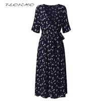 Elegant Casual Party Dresses Vestidos Mujer Women Flower Print Short Sleeve Boho Midi Dress With Belt