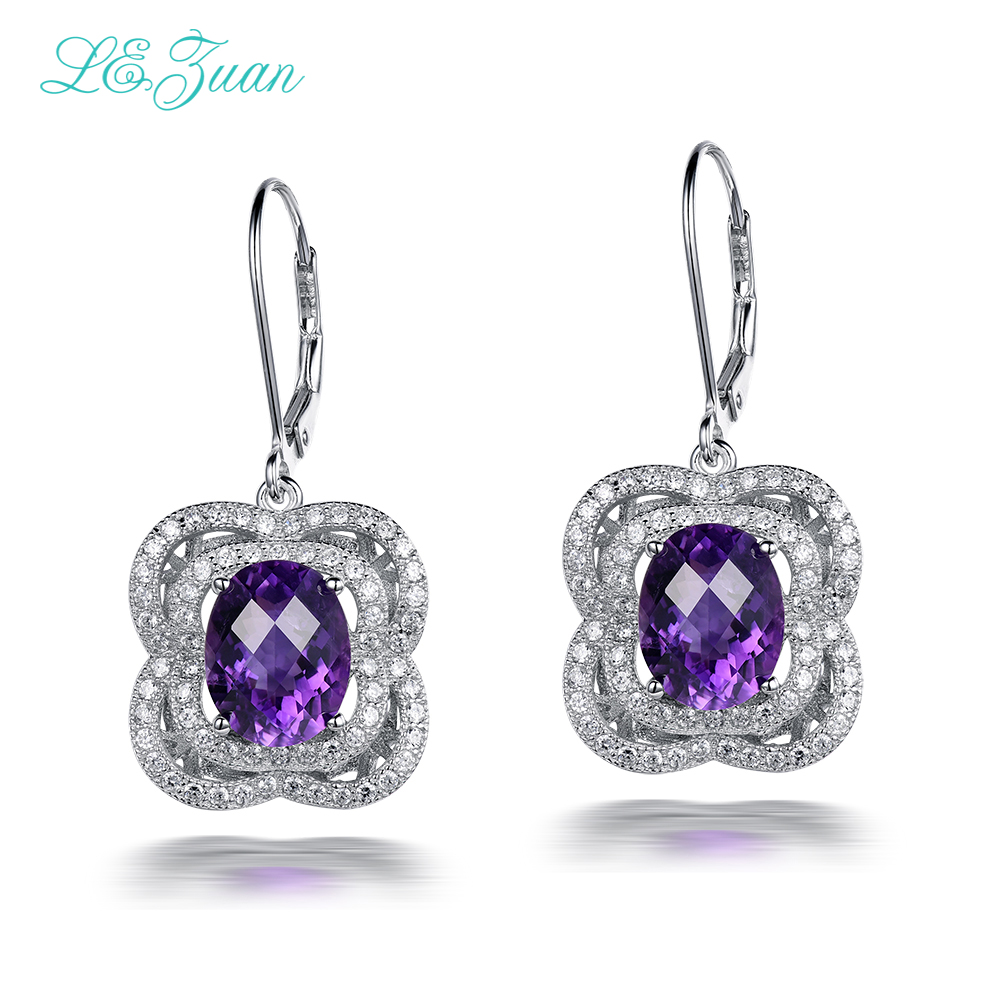 I&zuan 8.0ct Natural Amethyst Drop Earring 100% 925 Sterling Silver Jewelry Cluster Gemstone Luxury Earrings For Women E0048-W06I&zuan 8.0ct Natural Amethyst Drop Earring 100% 925 Sterling Silver Jewelry Cluster Gemstone Luxury Earrings For Women E0048-W06