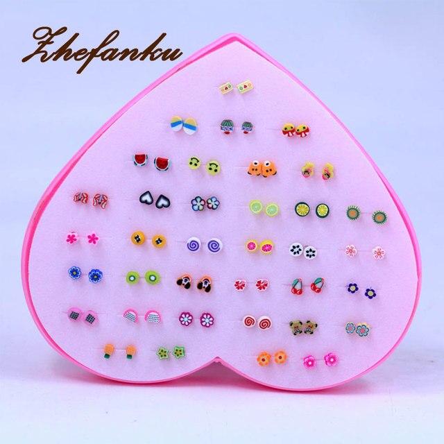 36 Pairs Set New Design Mini Handmade Flower Clay Earring Stud Sets Fruit