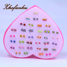 36 Pairs/set New Design Mini Handmade Flower Clay Earring Stud Sets Fruit Earring Set For Child With Heart Box
