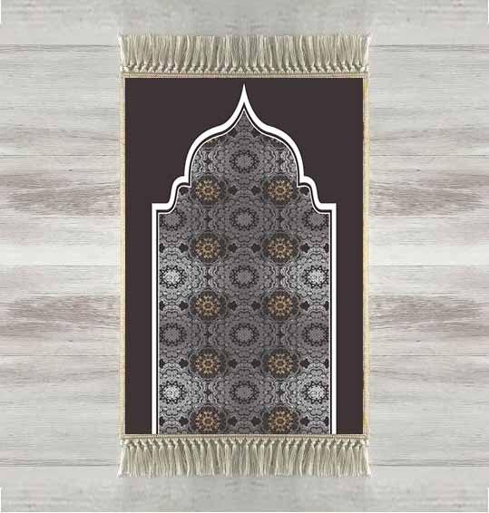 آخر أسود رمادي التقليدية العرقية ثلاثية الأبعاد التركية الإسلامية مصلاة للمسلمين السجاد Tasseled مكافحة زلة الحديثة سجادة للصلاة رمضان هدايا عيد