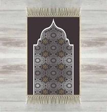 Elsa tapis de prière islamique, moderne, noir gris, 3d ethnique, avec pompons, antidérapants, cadeaux pour laïd islamique