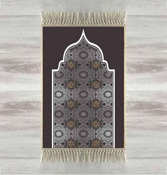 Else Black Gray Tradional Ethnic 3d Turkish Islamic Muslim Prayer Rugs Tasseled Anti Slip Modern Prayer Mat Ramadan Eid Gifts