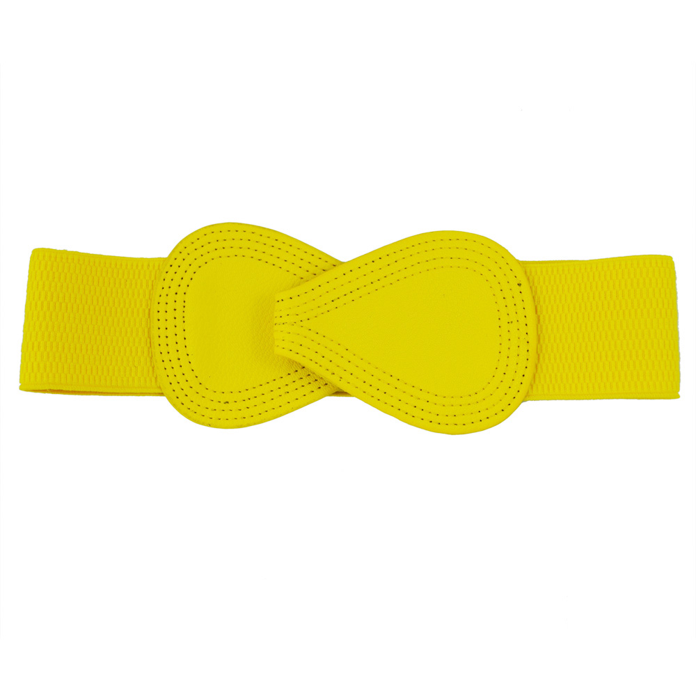 NEW 8 shaped Faux Leather Buckle Elastic Belt Yellow for Lady in Women 39 s Belts from Apparel Accessories
