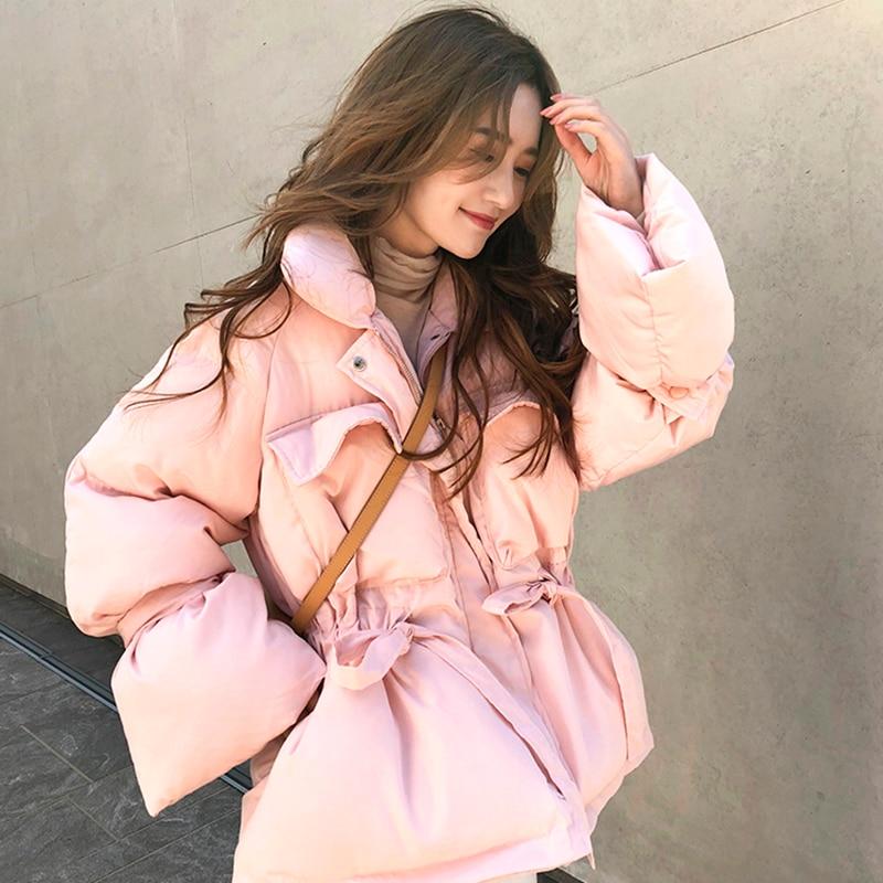 귀여운 핑크 코튼 패딩 여성의 겨울 2019 새로운 느슨한 허리 두꺼운 짧은 빵 칼라 자켓-에서베이식 쟈켓부터 여성 의류 의  그룹 1
