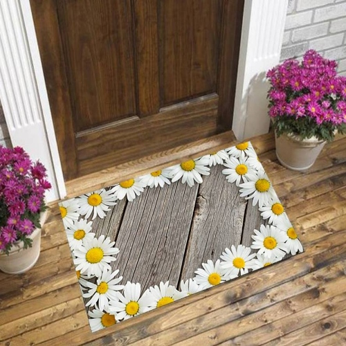 Else Gray Wood White Yellow Daisy Flowers Floral 3d Pattern Print Anti Slip Decorative Floor Door Mat Home Entryway Livingroom