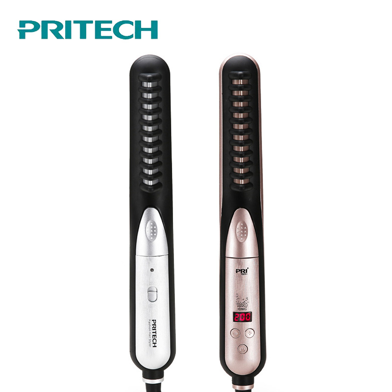 PRITECH Professional Ceramic Hair Straightener Comb Brush Flat Iron Fast Heating Hair Care Straightening Brush Styling Tool pritech ceramic hair straightening irons professional electric digital fast hair straightener brush hair care styling comb