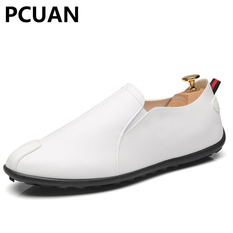 Breathable Peas Shoes Men Casual Pu Leather A Pedal Lazy Loafers Flat Driver Driving Shoes Wild Tide Shoes