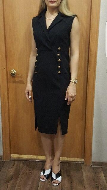 Шеин черный элегантный зубчатый v-образным вырезом две пуговицы рукавов карандаш до колена Длина узкие летнее платье Для женщин пикантные спецодежды Платья