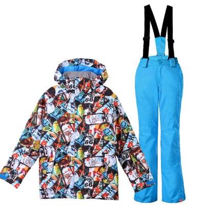 GSOU neige marque garçons veste de Ski pantalon Ski Snowboard costume coupe-vent imperméable enfants enfants vêtements pantalon Super chaud costume - 6