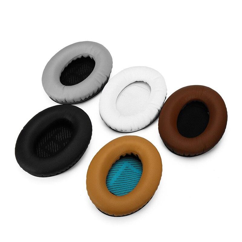 1 Paire de Remplacement Noir Blanc Gris Café Kaki Doux Mousse Éponge casque Ear Pad Coussin Pour BOSE QC2 QC25 QC35 QC15 AE2