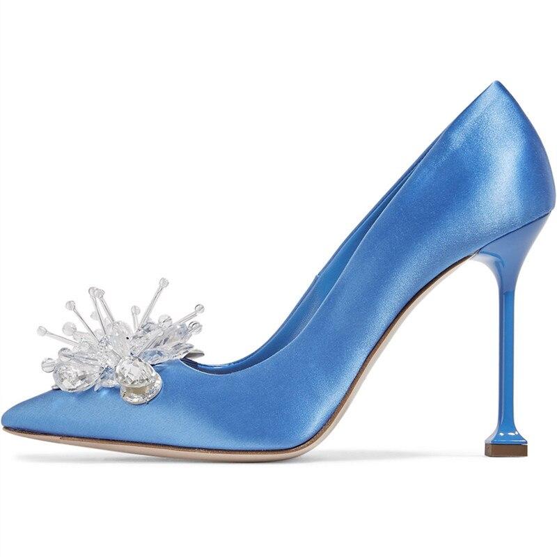 Rose Femmes Mariage Talons Stiletto Pointu De blue Chaussures Soie Sexy Bling Pompes Qianruiti Bout Bleu Cristal Mariée black Haute Champagne dwp1dS