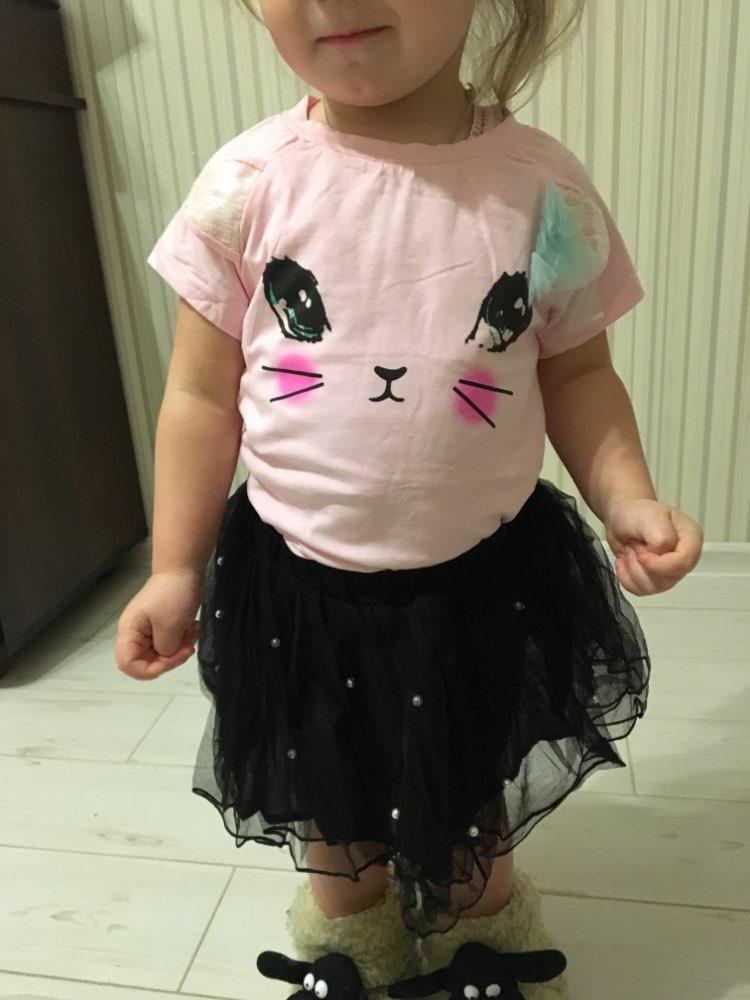 Girls Dress 2019 Girl Clothes Summer Style Cat Cartoon Cute Little White Cartoon Dress Kitten Printed Kids Dresses