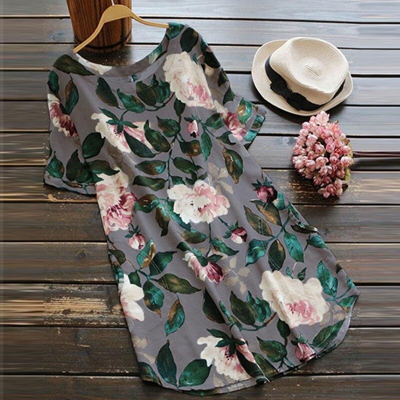 S 5XL ZANZEA Women Elegant O Neck Short Sleeve Cotton Linen Work Office Vestido 2018 Summer Fashion Floral Printed Loose Dress