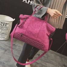 Vintage Rivet PU Leather Female Handbag Fashion Tassel Messenger Bag Women Shoulder Bag Larger Top-Handle Bags Travel Bag