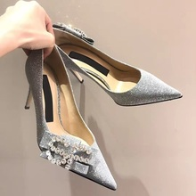 2019 Spring Women Wedding Stilettos Women Sequins Thin High Heels Shoe Pointed Toe Shoes Butterfly-Knot Bridal Shoes Slip-on недорого