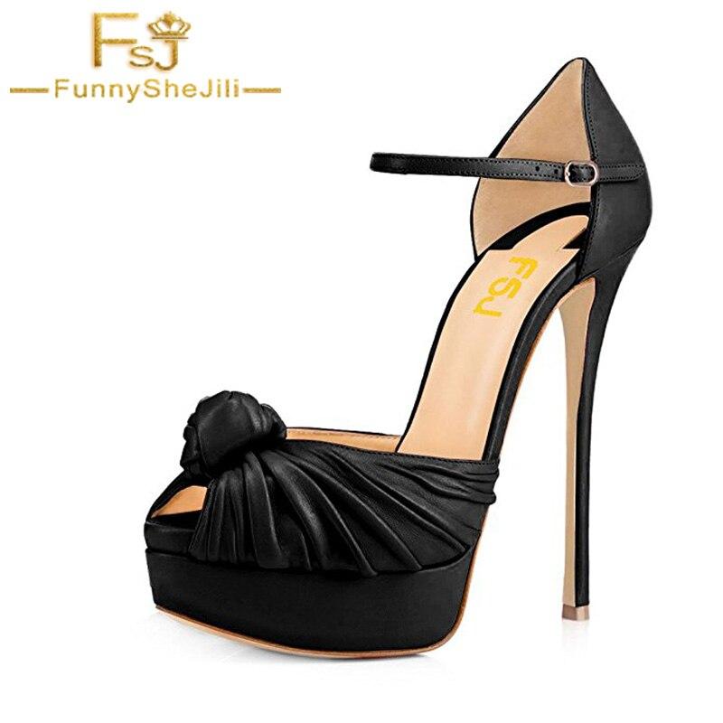 Black Sexy Pleather Pleated Shoes Women High Heels Ankle Strap Ladies Pumps Party Evening Wedding Pantoufle Femme D ete FSJ 41 jardin d ete jardin d ete eg 15891