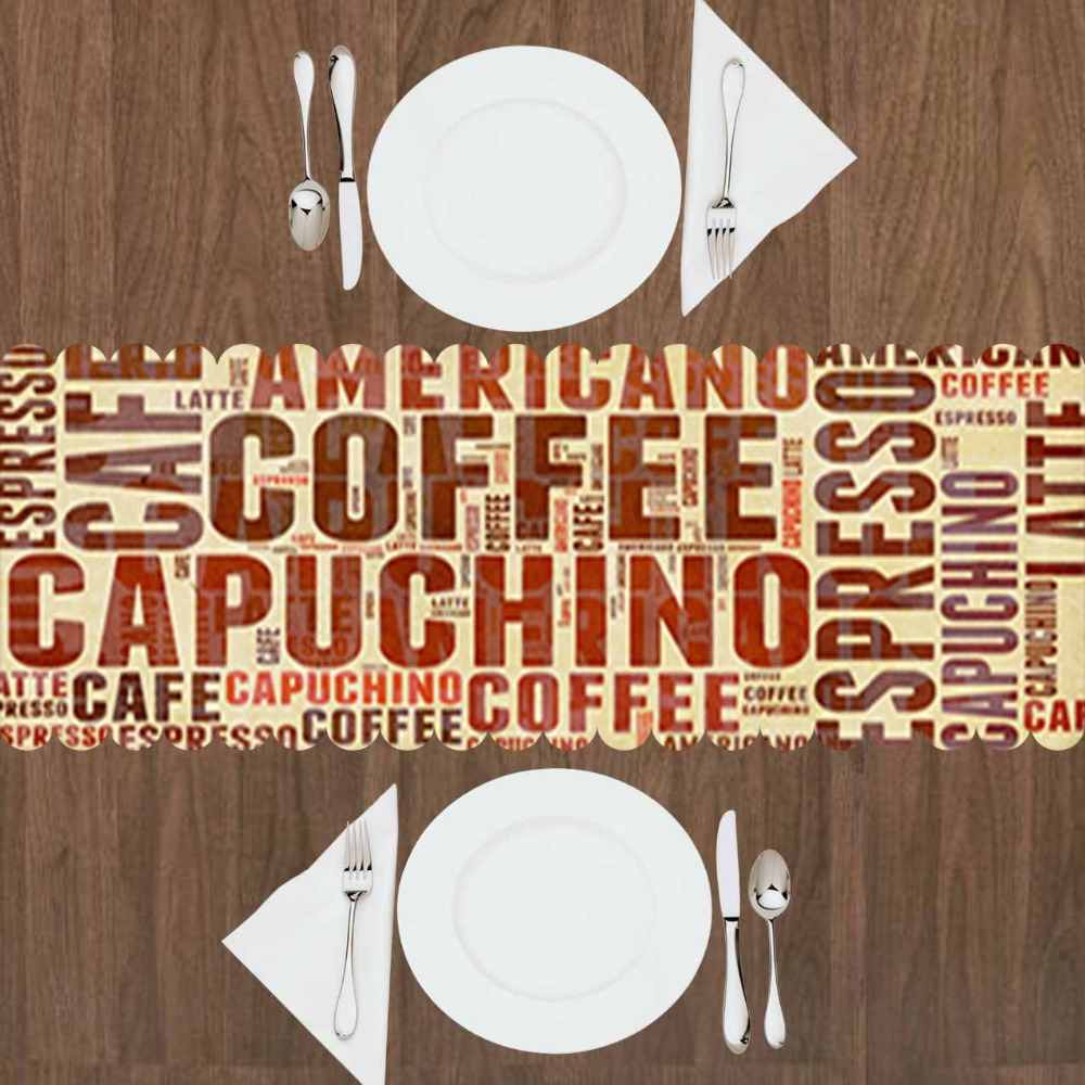 Else Brown Big Coffee Capuchino Americano Writen 3d Print Pattern Modern Table Runner  For Kitchen Dining Room Tablecloth