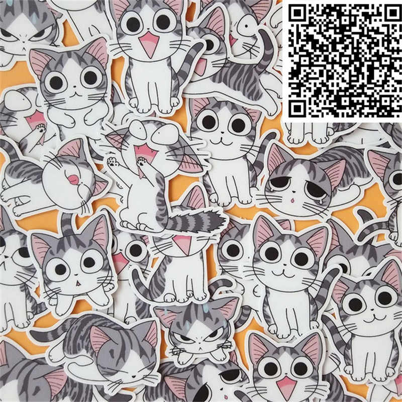 40 Pcs Cartoon Carrie Cat Daily Sticker Diary Stickers Scrapbooking Decoration Paper Stationery DIY Sticker School Supply