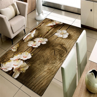 Else Brown Wood On White Flowers Floral 3d Print Non Slip Microfiber Living Room Decorative Modern Washable Area Rug Mat