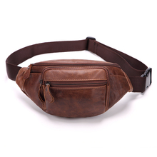Luggage Bags - Waist Packs - 2017 Men Waist Packs Genuine Leather Waist Bag Male Travel Waist Pack Fanny Pack Belt Bag Phone Pouch Bags Small Leather Pouch