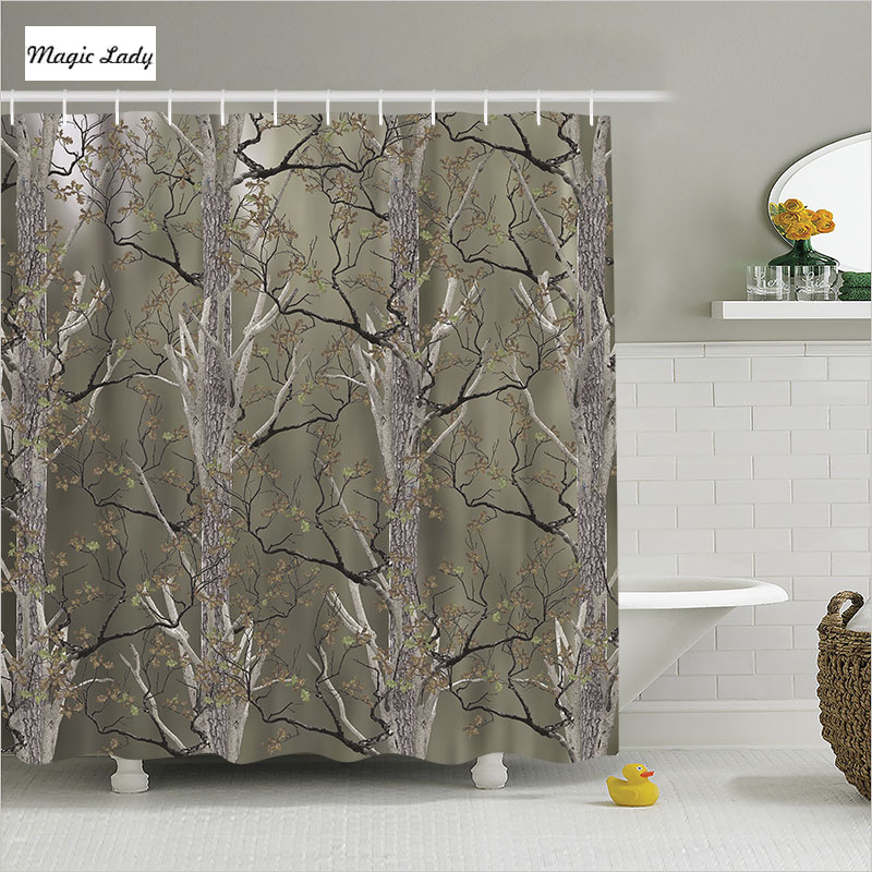 Shower curtain forest bathroom accessories tree wood park for Green and brown bathroom decor