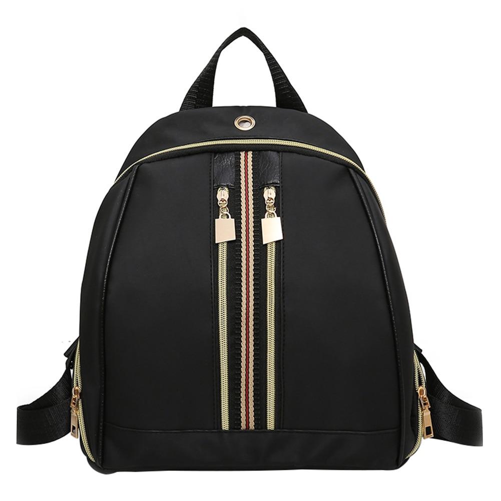 0c66c4342b0 Buy Fashion Women Nylon Backpack Female Black Zipper Backpacks for ...