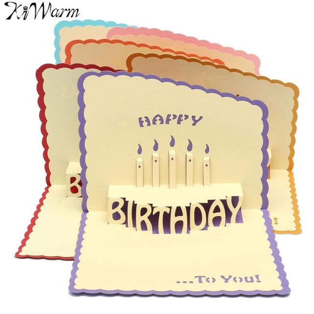 Kiwarm Unik 3d Kue Kertas Kartu Handmade Pop Up Kartu Ucapan Selamat