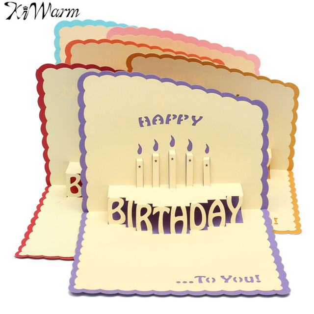 Kiwarm Unique 3d Cake Paper Cards Handmade Pop Up Happy Birthday