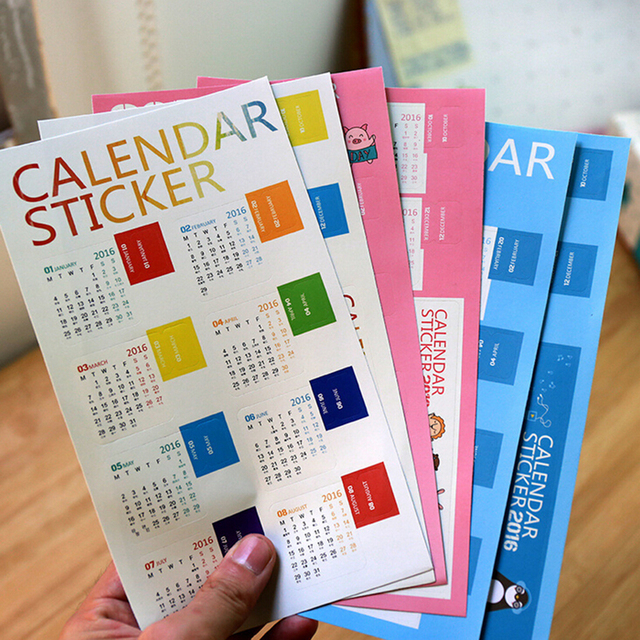 2 Pcs/Pack Calendar Sticker Diary Planner Notebook Journal Supplement Index Tag Bookmark For Scrapbooking Cards