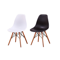 Fashion 2pcs Dining Chair Modern Style PP Seat Beech Wood Legs Dining Room Simple Leisure Side