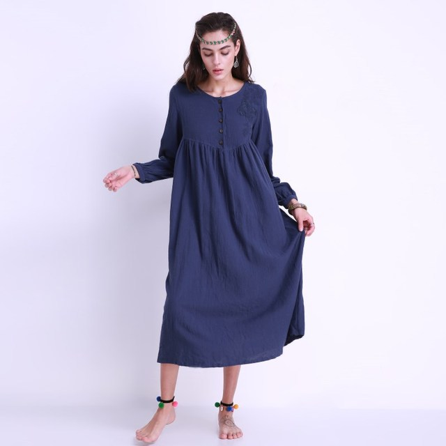 2018 Women Long Maxi Dress Plus Size Casual Fashion Vintage Floral  Embroidery Plain Long Sleeve Elegant Shift Dress Vestidos 3XL 60ce7e2f7