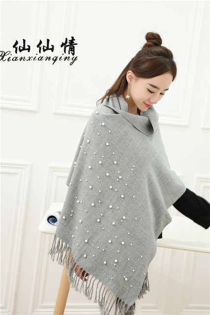 XIANXIANQING 2017 Winter Women Warm Scarf Grey Color Solid Scarves With Beautiful Pearls Cape Fake Cashmere Womens Shawls WJ1880