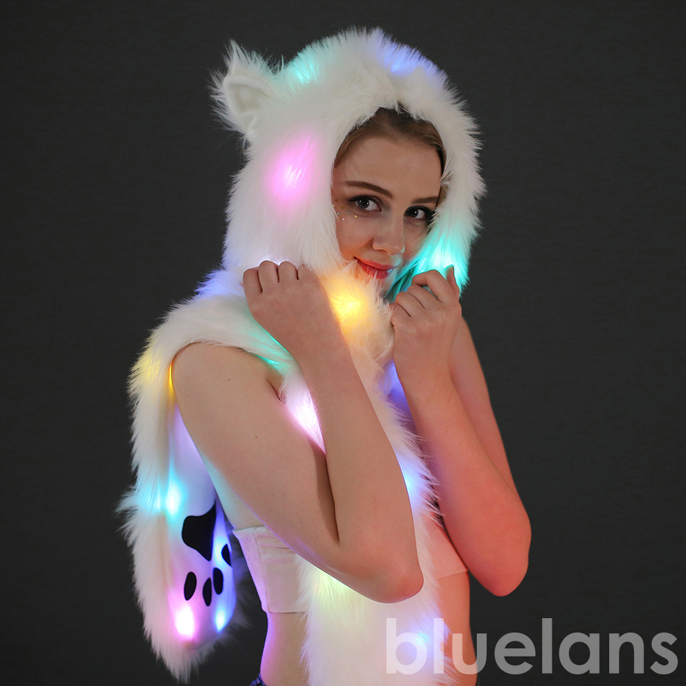 Women LED Light Up Faux Fur Animal Ears Hood Hat with Scarf Festival Supply