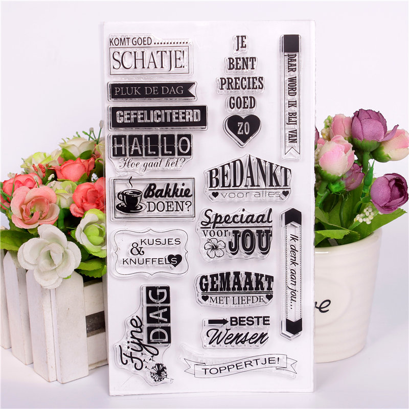 Us 351 10 Offdutch Word Transparent Clear Diy Stamp Silicone Seals Scrapbooking Card Makingphoto Album Decoration Daily Tag Label Stamp In