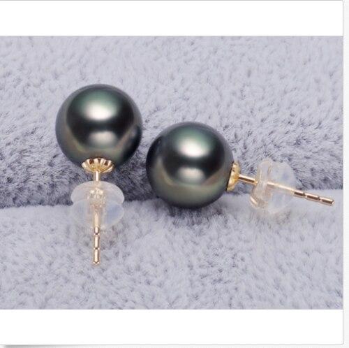 Superbe boucle d'oreille 8-9mm en perle de tahiti noire verte>>> livraison gratuite