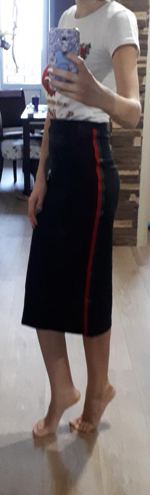 SweatyRocks Striped Tape Side Skirt Black Women Knee Length Elegant Athleisure Skirt 2018 Summer Mid Waist Casual Skirt