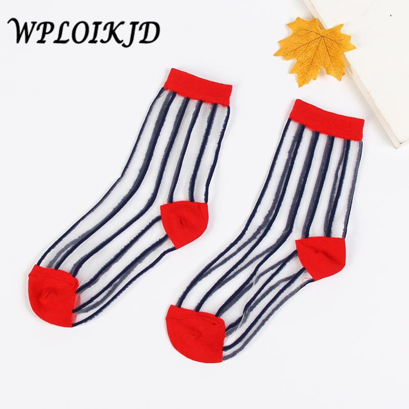 [WPLOIKJD]Spring Summer New Product Absorb Sweat Transparent Crystal Silk Women Elastic Striped   Socks   Breathable Meias Sox