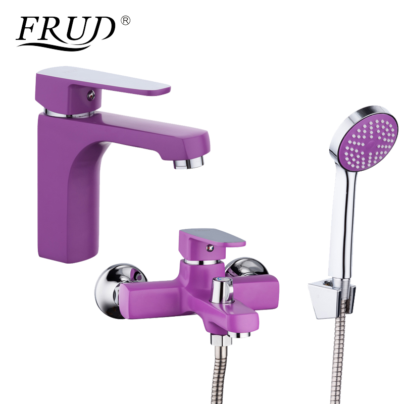 FRUD Innovative Fashion Purple Shower Faucet with Bathroom Basin Faucets Zinc Alloy Boby Cold and Hot Mixer Tap R10302-2+R32302 shower faucet widened angle valve adjustable diameter hot and cold faucets accessories a pair
