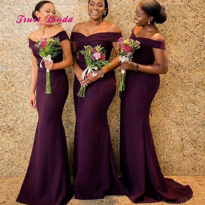 African Burgundy Bridesmaid Dresses