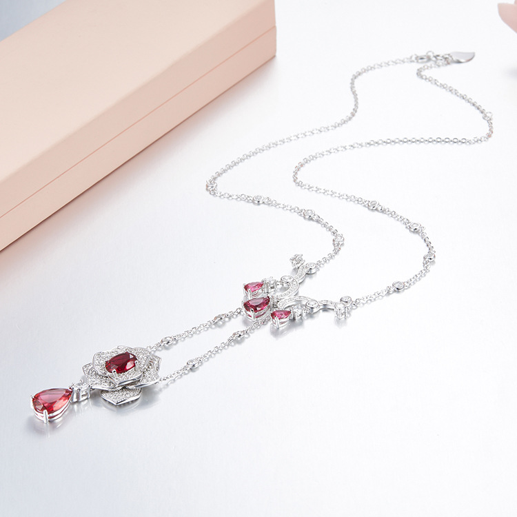 ZOZIRI delicate small rose flowers Pendant necklace for women long tassel water drop necklace shiny 925 sterling silver jewelry ying vahine 925 sterling silver jewelry shiny stars pendant necklace