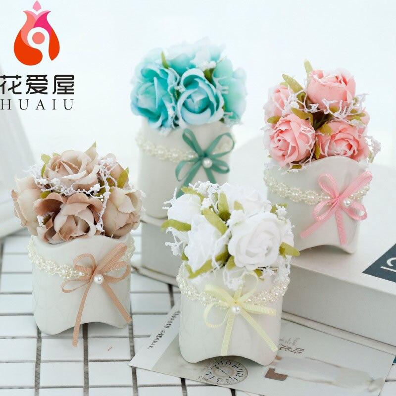 Rose konstgjorda blommor sätta konstgjorda blomsterbord dekoration - Semester och fester