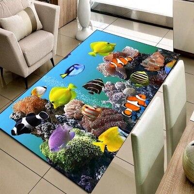 Else Tropical Aquarium Under Sea Fishes 3d Print Non Slip Microfiber Living Room Decorative Modern Washable Area Rug Mat