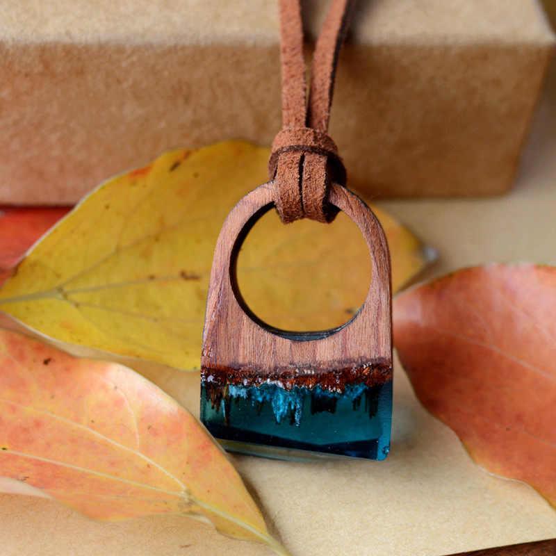 Madeira Criativo do vintage Feitos À Mão Floresta Secreta Neve Cura Terrário Sorte Amantes Acessórios de Moda Jóias Anel de Cristal de Vidro