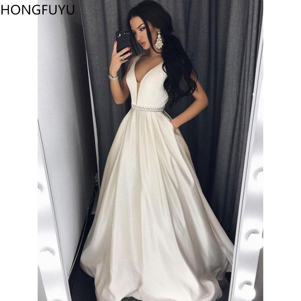 HONGFUYU Charming Ivory   Prom     Dress   Satin Sheer V-Neck Evening   Dresses   Long A Line Formal Gowns for Party robe de soiree Pockets