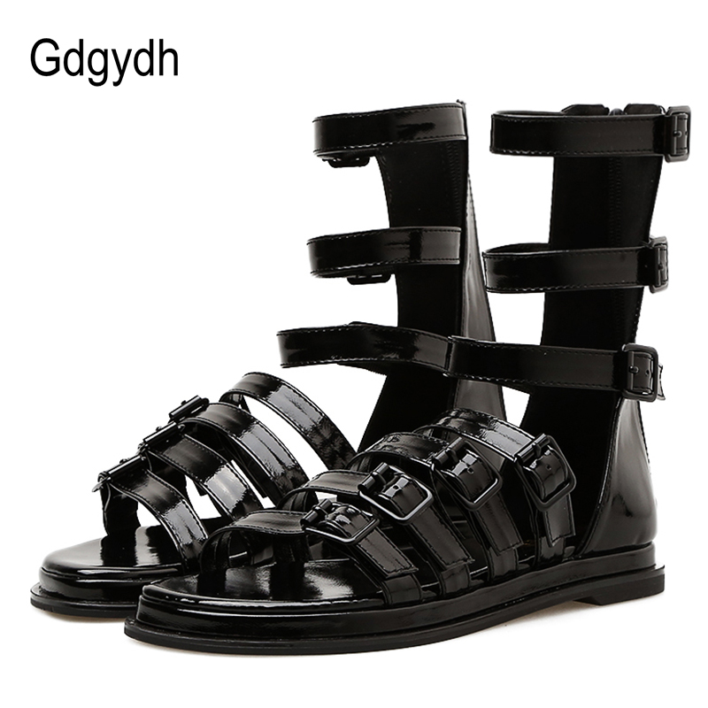 Gdgydh Patent Leather Gladiator Sandals For Women Flat Heel Sexy Buckle Gothic Punk Shoes Black Summer Rome Style Good Quality