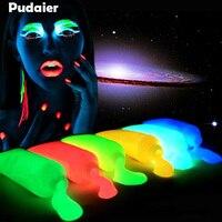 Pudaier 10pcs Neon Fluorescent Face Body Paint Painting Art Glowing Halloween Party Fancy Dress Beauty Makeup