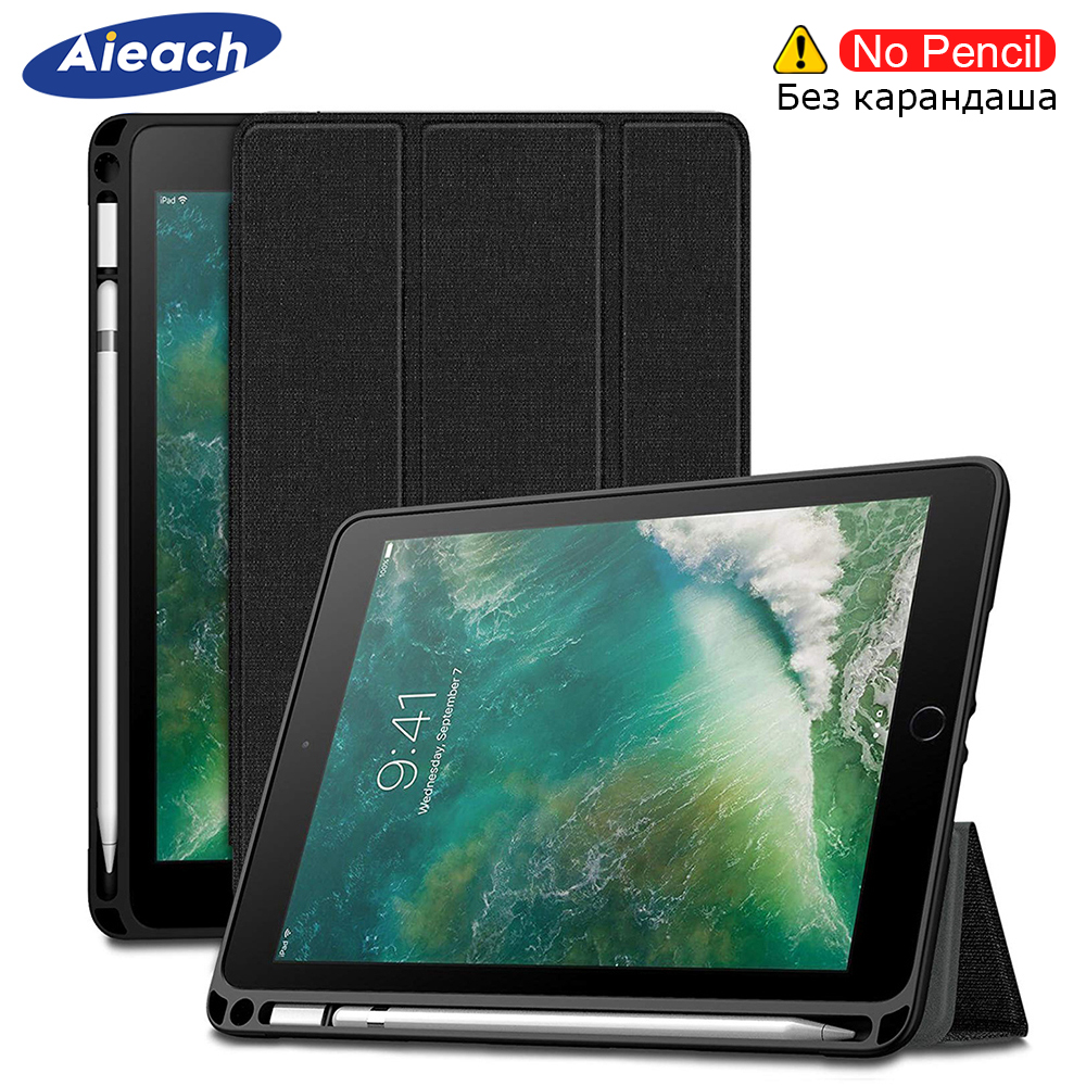 Cover For New iPad 9.7 inch 2018 2017 Case With Pencil Holder Smart PU Leather Cloth Texture Soft Silicone Case For iPad 5th 6th